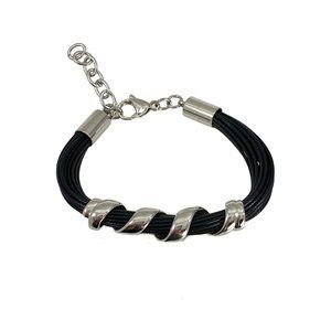 Stainless Steel Twist on Black Band